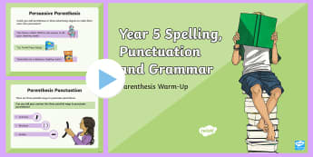 Year 5 Parenthesis Warm-Up PowerPoint - extra information, brackets, dashes, paired commas, quick quiz