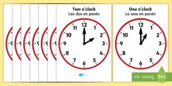 Hourly Clocks Display Posters English/Spanish - Analogue Clocks - Hourly O' Clock - Time resource, Time vocaulary, clock face, O'clock, half past,