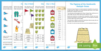 KS1 The Mystery of the Sandcastle Stamper Game - KS1, Summer 2017, key stage 1, numeracy, maths skills, number skills, year 1, year 2, yr 1, yr 2, pl