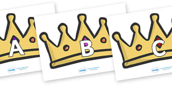 A-Z Alphabet on Crowns - A-Z, A4, display, Alphabet frieze, Display letters, Letter posters, A-Z letters, Alphabet flashcards