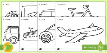 Hojas de colorear: El transporte de hoy en día - colorear, colorea, colores, color, pintar, hojas, transporte, coche, camión, avión, globo aerostá