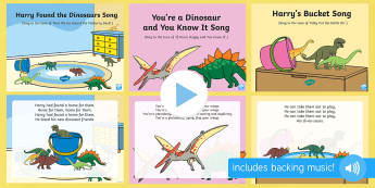 dinosaurs Songs and Rhymes PowerPoints Pack - Harry and his Bucketful of Dinosaurs, Ian Whybrow, singing, song time, PowerPoint, dinosaurs, dinosa