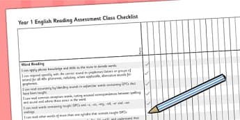 2014 Curriculum Year 1 English Reading Assessment Class Checklist