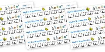 0-30 Number Line (Space) - Counting, Numberline, Number line, Counting on, Counting back, space, moon, sun, earth, mars, ship, rocket, alien, launch, stars, planet, planets