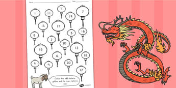 Chinese New Year Even Odd Numbers Colouring Activity - australia
