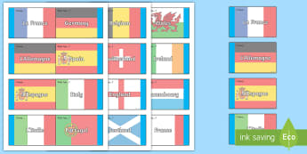 Countries Loop Cards - French, Countries, KS2, Flags, Europe, Travelling, Holidays, Visiting, Foreign, Abroad
