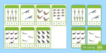 Desert Habitat Peg Card Activity - animals, pre-k math, kindergarten math, counting, number recognition
