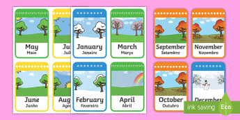 Months of the Year Flashcards English/Portuguese - year, flashcards, flash cards,months of the year, english, flashards, flascards, eal