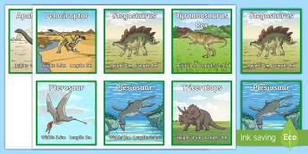 Prehistoric Creature Dimension Cards - dinosaur facts, length, height, prehistoric, creature, animal, apatosaurus, plesiosaur, pterosaur, d