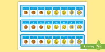 Euro Coins Photo Strips Gaeilge - Gaeilge, Irish, airgead, money, ag siopadóireacht, shopping