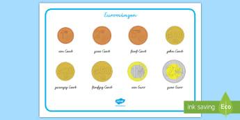 Euromünzen Wortschatzsammlung: Querformat - Euro, Cent, Münzen, Scheine, Wortschatz, ,German