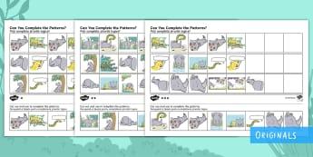 Ronald the Rhino Complete the Pattern Activity Sheet English/Romanian - Ronald the Rhino, rhyming, pattern, story, jungle, Africa, rhino, , worksheet, activity sheet, eal