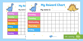 My Reward Chart (Dinosaurs) - my reward chart, dinosaurs, chart, reward, well done, certificate, award, school, general, dinosaur themed, dinosaurs, animal