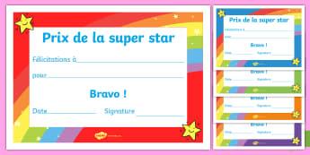 Certificats de récompense : Prix de la super star - Récompense, prix, attestation, félicitations, bravo, cycle 1, cycle 2, cycle 3, certificat, certif