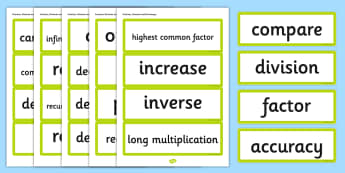 Year 6 2014 Curriculum Fractions Decimals and Percentages Vocab