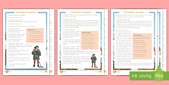 Christopher Columbus Differentiated Reading Comprehension Activity - Christopher Columbus, Columbus, Explorers, america, Columbus day