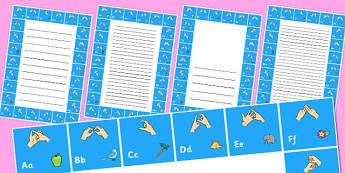 British Sign Language Alphabet Writing Frame - writing frame
