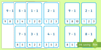 Subtract 1 up to 10 Peg Cards - Plus 1 Peg Cards to 10 - plus 1, peg, cards, 10, numeracy, maths, numracy, matsh, take away, subtrac