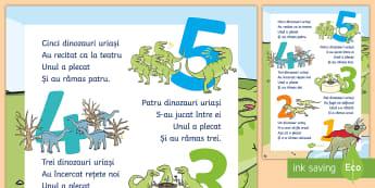 Numărătoare cu dinozauri Planșă format mare - numere, numărătoare, dinozauri, cifre, 0-5,planșă, clasa pregătitoare, grădiniță, joc, matem