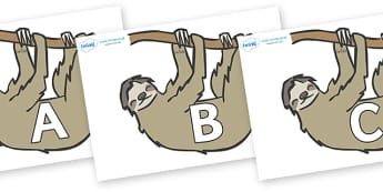 A-Z Alphabet on Sloths - A-Z, A4, display, Alphabet frieze, Display letters, Letter posters, A-Z letters, Alphabet flashcards