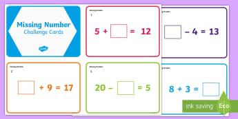 KS1 Missing Number Challenge Cards - problem solving, ks1, missing number problems, year 1,