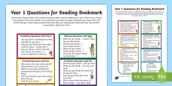 Year 1 Questions for Reading Bookmark Question Cards - Y1, comprehension, understanding, reading dogs, parents, questioning