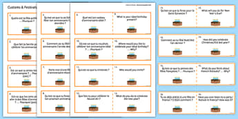 General Conversation Question Double Sided Cards French English Customs and Festivals - french, Conversation, Speaking, Questions, Customs, Festivals, Traditions, Fêtes, Coutumes, Noël, Pâques, Christmas, Easter, Anniversaire, Birthday, Cards, Cartes
