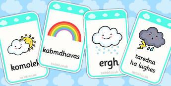 Weather Flashcards Cornish Translation - weather, flashcards