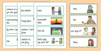 Greetings Flashcards Cymraeg - cymraeg, greetings, flashcards, welsh, language