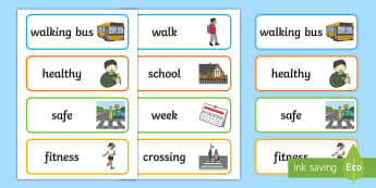 Walk to School Month Word Cards - road safety, health, Exercise, walk, Ks1, EYFS