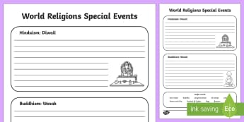 Hindu and Buddhist Celebrations Activity Sheet - KS1 World Religion Day 15th January, Hindu, Buddhist, compare religions, religious celebrations, Wes