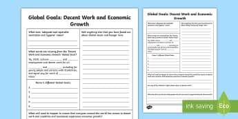 Global Goals Decent Work and Economic Growth Second Level Research Activity - Learning For Sustainability, UNICEF, GG7, jobs, enterprise, workers rights,Scottish