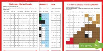 Christmas Maths Mosaic Activity Sheets - Mosaic maths, maths activity, christmaas