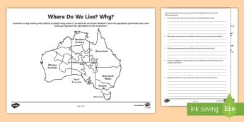 Where Do We Live? Why? Activity Sheet - geography, country, coast, Australia, worksheet, map, territories,