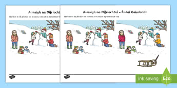 Spot the Difference Winter Clothes Activity Sheet Gaeilge - ROI, Clothes, Gaeilge, colour, vocabulary, vocab, words, phrase, language, Éadaí, winter, cold, sn