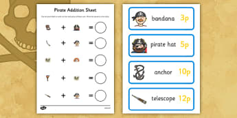 Pirate Shopping Addition up to 20p Activity Pack - pirates, shopping, addition, up to 20p, activity, pack
