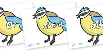 100 High Frequency Words on Birds - High frequency words, hfw, DfES Letters and Sounds, Letters and Sounds, display words