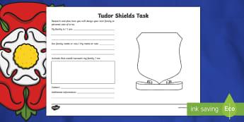 KS2 Tudor Shields Activity Sheet - KS2, year 3, yr 3, y3, year 4, yr 4, y4, year 5, yr 5, y5, year 6, yr 6, y6, Tudor shields, Tidors,