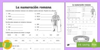 Ficha de actividad: La numeración romana - números, romanos, cifras, digitos, traducir, traducción, ficha, mates, matemáticas, historia, ,Sp