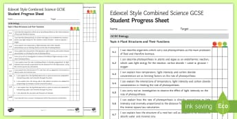 Edexcel Style Plant Structures and Their Functions Student Progress Sheet - photosynthesis, plant, plants, leaf, producer, producers, algae, limiting factors, rate of photosynt
