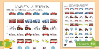 Ficha de actividad: Completa la secuencia - El transporte - secuencia, secuencias, patrones, serie, series, mates, matemáticas, transporte, coche, camión, avi