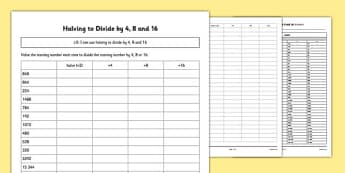 Halving to Divide by 4, 8 and 16 Activity Sheet Pack - Maths, halving, divide by 4, divide by four, worksheet