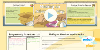 PlanIt D&T Upper KS2 - Programming Adventures Lesson Pack Making an Adventure Map - Lesson 5 - materials, properties, cotton, silk, felt, cardboard, paper, bubble wrap, plastic, joining, staples,