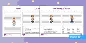 The Making of Milton Character Description Differentiated Activity Sheets - twinkl fiction, personality, appearance, describe, roll on the wall, likes and dislikes, worksheet