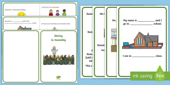 How to Sit in an Assembly Social Story - coping strategy, self regulation, SEN, calm,