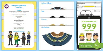Emergency Services Sensory Bin and Resource Pack - sensory play, police, ambulance, paramedic, fireman, fire fighter, fire engine, lifeboat, sensory tr