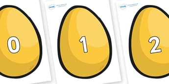 Numbers 0-31 on Golden Egg - 0-31, foundation stage numeracy, Number recognition, Number flashcards, counting, number frieze, Display numbers, number posters