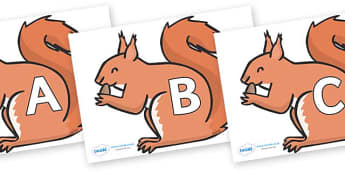 A-Z Alphabet on Red Squirrels - A-Z, A4, display, Alphabet frieze, Display letters, Letter posters, A-Z letters, Alphabet flashcards
