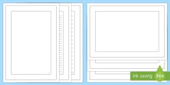 Plain Colouring Page Border Pack - Plain Colouring Page Border Pack - writing templates, writing frames, colour, literacy, writing, tem