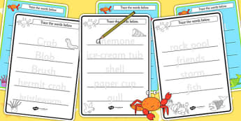 Trace the Words Worksheets to Support Teaching on Sharing a Shell - stories, tracing